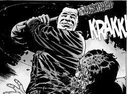 Negan asesinando brutalmente a Glenn.