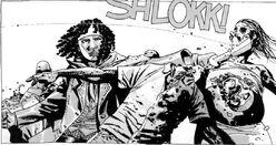 Michonne rescatando a Otis