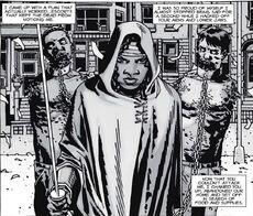 Michonne y sus guardaespaldas.