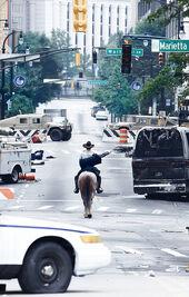 Parte de la ciudad de Atlanta tras la caída de la civilización.