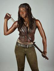 Michonne con su vestimenta característica.