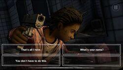 Una captura mostrando opciones de diálogo en un dispositivo Iphone.