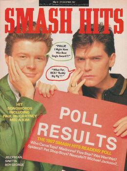 Smash Hits, December 16, 1987 – p.01 Rick Astley Schofield cover