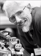 Christopher Awdry with Thomas and Percy