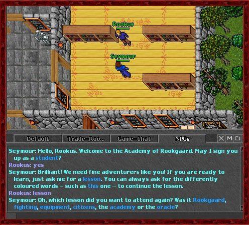 O Jogador Rookus conversando com o NPC Seymour