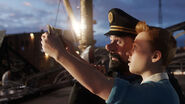 The adentures of Tintin - film - Haddock and Tintin look at map