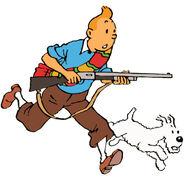 Tintin with a rifle
