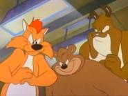 Old School Looney Tunes beatdown. Claude Cat, Papa Bear and Marc Antony.