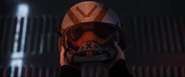Valk inspecting his helmet