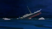 Break-up of the Titanic in Titanic The Legend Goes On (2000)