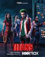 Titans season 3 poster - Donna, Dawn, Gar, and Hank