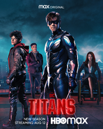 Titans season 3 poster - Jason, Tim, Dick, and Barbara