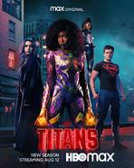 Titans season 3 poster - Rachel, Koriand'r, Blackfire, and Conner