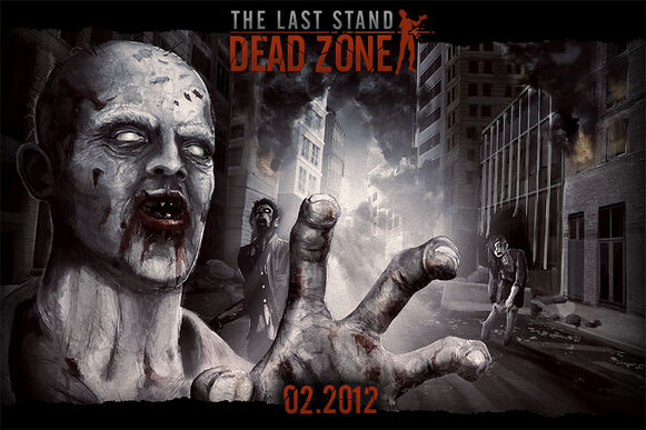 A promotional image released by the game developers showing a zombie in the foreground with its hand reaching out towards the viewer, with two other zombies in the background. The words The Last Stand: Dead Zone can be seen at the top, and the game's release date, 02.2012, at the bottom.