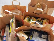 Bags canned goods