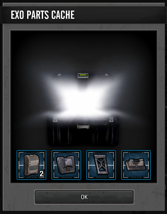 Opened basic EXO Parts Cache box.png