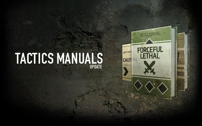 "A promotional Facebook image advertising the Tactics Manuals update. The ""Forceful Lethal"" tactic manual can be seen in the foreground."