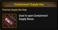 Containment Supply Key