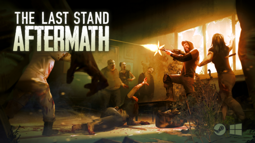 A promotional image released by the game developers showing a survivor firing an assault rifle at a group of zombies. A zombie to his left is reaching out to him. The survivor is standing in front of a few smashed windows with sunlight coming through from behind them.