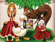 Mother Goose, Lester, and Red