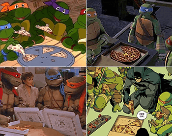 Pizza seen in various TMNT incarnations