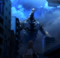 Mikoto facing the 'giant puppet' full stitch