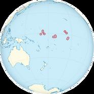 Kiribati on the globe (Polynesia centered)