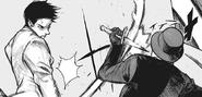 Kaiko blocks Takeomi's attack with his dagger