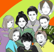 Illustration of stage play cast