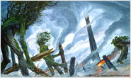 The Ents Destroy Isengard by John Howe