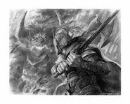 Ecthelion fighting Gothmog by Randy Vargas