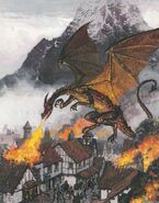 Smaug attacks Dale by Alan Lee