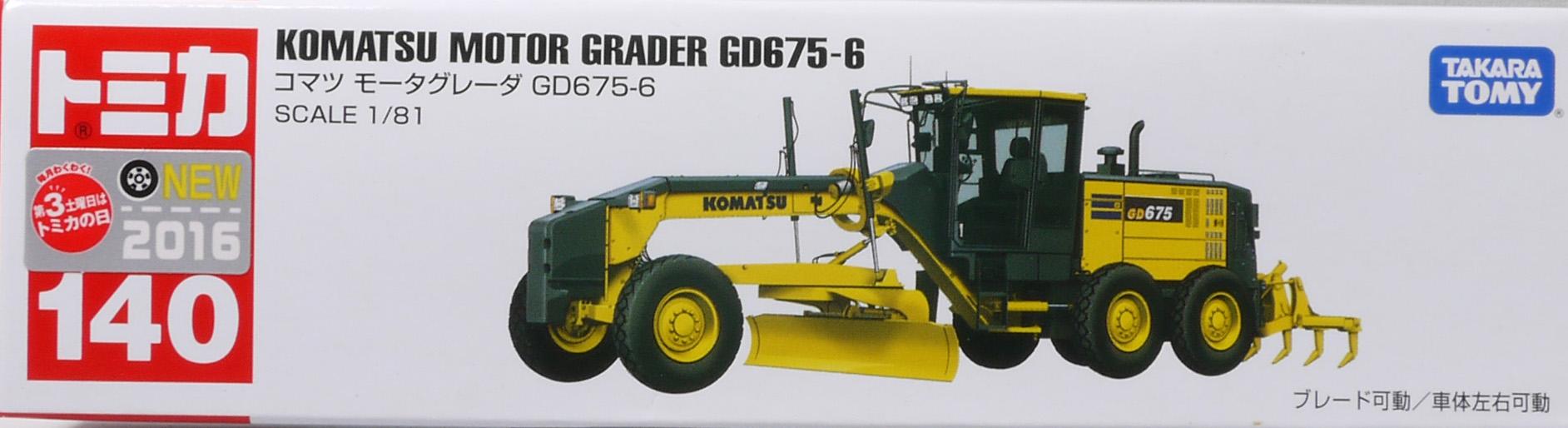 TAKARA TOMY TOMICA #140 KOMATSU NIVELEUSE AUTOMOTRICE GD675-6 1//81 Diecast Toy Car