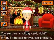 Mii taliking about wanting a Holiday card