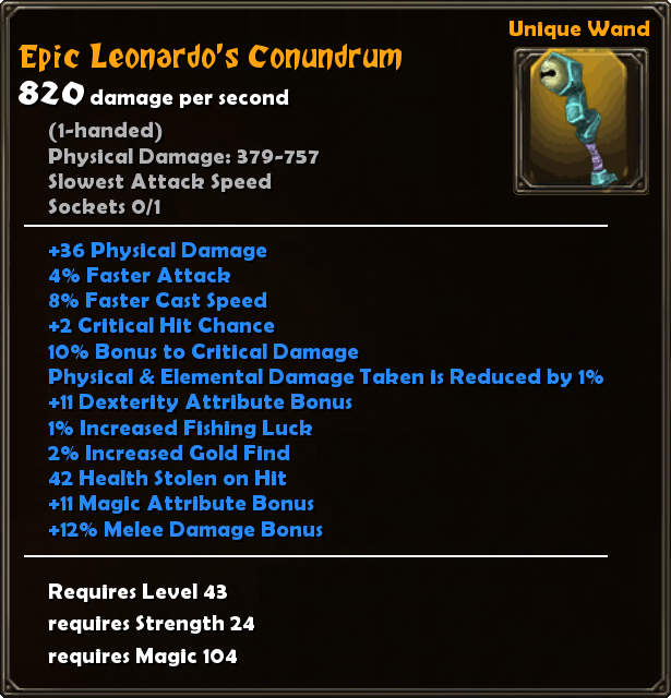 Leonardo S Conundrum Torchlight Wiki Fandom The only real exception to this is a cast on ignite build using an eye of innocence to self damage on ignite, and a razor of the seventh sun to heal on ignite. torchlight wiki fandom