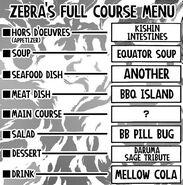 Zebra's Full Course Menu