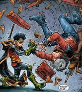 Batman-TMNT Robin wrestle Casey