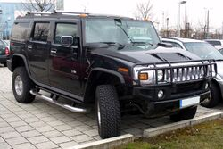 Black Hummer H2 in a parking lot