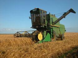 John Deere 955 combine harvester, Orkney Islands.jpg
