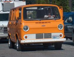 1st version of Chevy Van with flat windshield