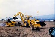 A 1970s Whitlock Fordson Digger Loader outside the factory