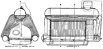 End and side views of the Normand three-drum water-tube boiler. The convoluted curved shape of the tubes can be seen. Also the hemispherical domed ends to the drums, and the separate steam dome above.