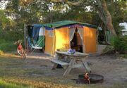 VW bus with freestanding baywindow tent