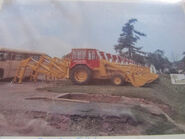 A 1970s Whitlock Brothers 605 Digger Loaders outside the factory
