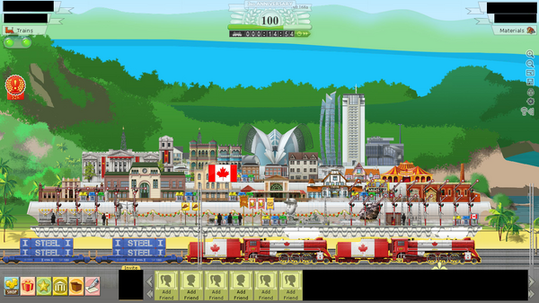 Canada National Flag Engine, 4-6-4 Maple Leaf, with cargo, in Canadian station