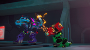 Ultra Bee and Galvatronus are fighting in an epic battle