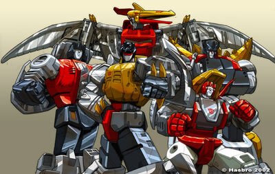 Apparently, they DON'T form a megazord. From left to right: Sludge, Grimlock, Swoop, Slag and Snarl