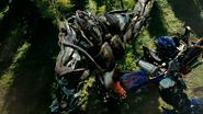 Megatron geraakt door Optimus Prime