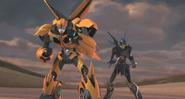 Bumblebee and Arcee fight