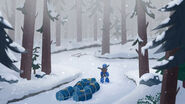 Whirl in snowy forest
